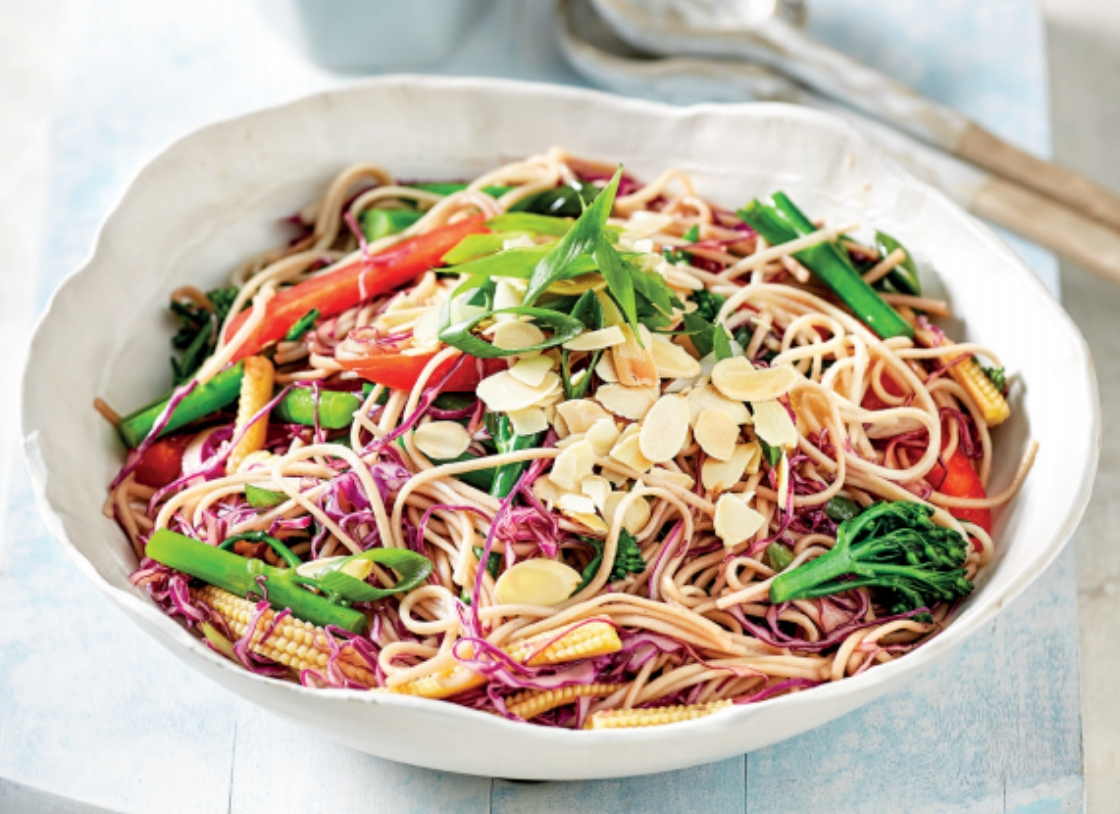 Almond and Cabbage Slaw with Soba Noodles
