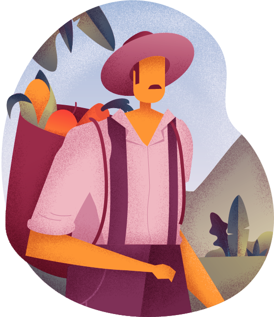 Illustration of male farmer with a basket on his back carrying vegetables